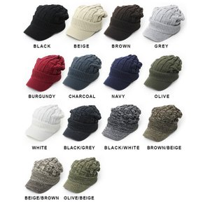 ニット帽 メンズ つば付き 大きい キャスケット レディース 帽子 アクリル クロス編み 送料無料 protocol 08