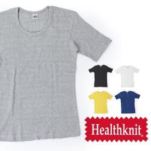 Tシャツ 無地 メンズ / Healthknit ヘルスニット 半袖 ワッフル Uネック Tシャツ LG-004|protocol