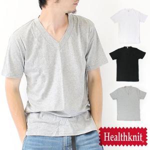 Tシャツ 無地 メンズ / HealthKnit ヘルスニット ワイドリブ Vネック Tee/メンズ Tシャツ カットソー|protocol