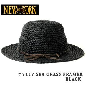 つば広 レディース / NEWYORK HAT ニューヨークハット SEA GRASS FRAMER  BLACK / 帽子 ストローハット 麦わら帽子 浴衣 / UVカット / UV対策 / UVハット|protocol