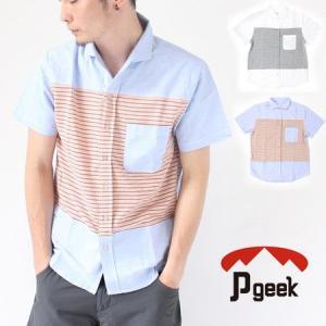 Pgeek 切り替え 半袖シャツ/メンズ トップス ファッション カジュア|protocol