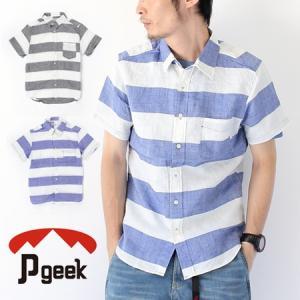 Pgeek ラミーボーダー 半袖 レギュラー シャツ/メンズ シャツ 麻 リネン トップス ボーダー 太|protocol
