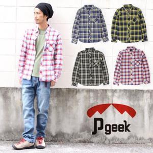 男性 メンズ mens 長袖シャツ Pgeek チェック ネルシャツ トップス チェック|protocol