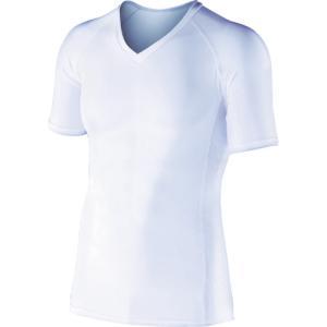おたふく手袋 BT冷感 パワーストレッチ 半袖Vネックシャツ ホワイト L(JW-622-WH-L) protools