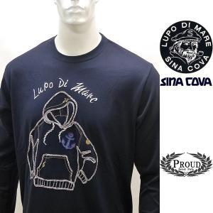 シナコバ 特選品 ¥16000+税[LL] 長袖 Tシャツ メンズ チェーンステッチワークデザイン SINACOVA SARDEGNA 20221008    sc KNs m 20110030|proud