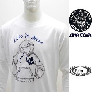 シナコバ 特選品 ¥16000+税[LL] 長袖 Tシャツ メンズ チェーンステッチワークデザイン SINACOVA SARDEGNA 20221009    sc KNs m 20110030|proud