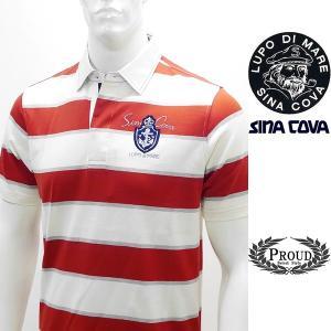 シナコバアウトレット [L] 半袖ポロシャツ メンズ ゴルフ タウンウェア ボーダー刺繍ポイント SINACOVA 20221010   sc KNs m 20110510|proud