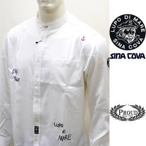 シナコバ ¥28000+税[L]長袖スタンドカラー シャツ メンズ ポイント刺繍デザイン SINAC...