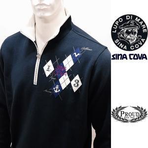 シナコバ [L] トレーナー メンズ  ゴルフ タウンウェア 3ポイントデザイン スエット SINACOVA 21906041        sc KTf m 21220070 proud