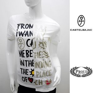 カステルバジャックレディース 特選品¥19000+税 [40/9号]半袖 Tシャツ フロントパネルロゴアートデザイン]80201084              jcTIsl 22770|proud