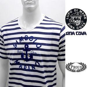 [シナコバ]¥21000+税 [LL]半袖Tシャツ マリンボーダースタイル SIMBOLO MARINO SINACOVA GENOVA]80208104                scTIsm 18120560|proud