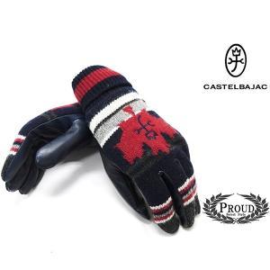カステルバジャック ¥15000+税 [F]手袋 カジュアルグローブ ウール牛革コンビ]80822068              jcTIfm 23901|proud