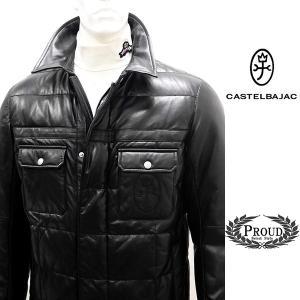カステルバジャック ¥130000+税 [48/L]羊革 レザー ダウン ジャケット メンズ バックショットロゴモデル 90825027              jcTCfm 21210|proud
