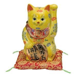 【送料無料】九谷焼 K3-1762 小判招き猫 7号 黄盛 布団付 13×12×22cm 紙箱