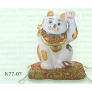 【送料無料】九谷焼 N77-07 招猫 6.5号 金ブチ 布団付 12×13×19.5cm 紙箱