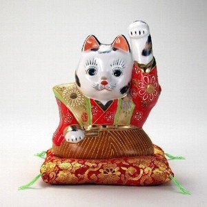 【送料無料】九谷焼 N77-08 ハカマ招猫 6号 盛 布団付 11×15.5×19.5cm 紙箱