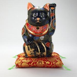 【送料無料】九谷焼 N77-11 小判招猫 7号 黒盛 布団付 12×13×22cm 紙箱