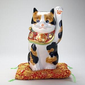 【送料無料】九谷焼 N77-13 招猫 8号 長毛三毛 布団付 14×16×27cm 紙箱