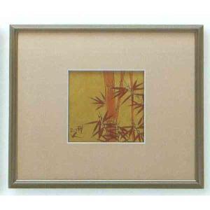 【送料無料】九谷焼 N87-05 陶額 アルミ額シリーズ 金彩朱竹 ガラス付 31.5×35.5cm