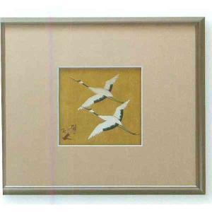 【送料無料】九谷焼 N87-07 陶額 アルミ額シリーズ 金彩双鶴 ガラス付 31.5×35.5cm