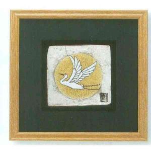 九谷焼 N89-05 陶額 手造り金銀シリーズ 金銀箔満月に鶴 ガラス付 32.7×32.7cm|psp-ho1|01
