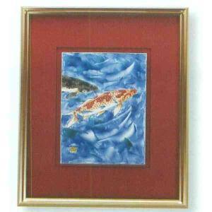 【送料無料】九谷焼 N91-02 陶額 アルミ額シリーズ 鯉 ガラス付 44.8×35.7cm