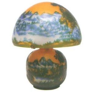 【送料無料】 Collection 【CP-1031】 ArtNouveauStyle ガラスランプ 風景 25.5×31.5cm 電源:E17 25W/E12 10W
