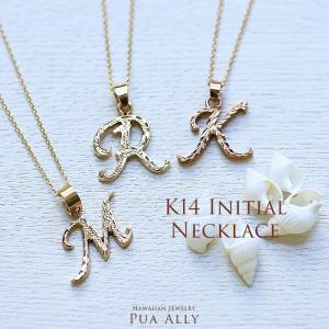 【K14 イニシャル ペンダントトップ L】チェーン別売り ハワイアンジュエリー Hawaiian jewelry プアアリ 手彫り 14金 アルファベット レター プレゼント 女性 puaally