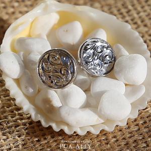 【SV925 ハワイアン ラウンド ピアス】ハワジュ Hawaiian jewelry Puaally プアアリ 手彫り シルバー ペア 男女兼用 男性 メンズ プレゼント|puaally
