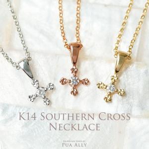 【K14 南十字星 プルメリア プチ ネックレス】14金 ゴールド 4月 ダイヤモンド  クロス プレゼント 女性 ハワイアンジュエリー Hawaiian jewelry Puaally|puaally