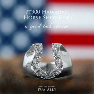 【Pt900 ハワイアン ホースシューリング 馬蹄】プラチナ ハワイアンジュエリー ハワジュ Hawaiian jewelry プアアリ 手彫り 指輪 メンズ サーフ ピンキーリング|puaally