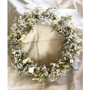 【通常便送料別】ドライフラワーリース「fairy sugar」|pualani-flowers