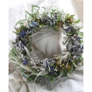 【来店受取限定】ドライフラワーリース「lady blue」|pualani-flowers