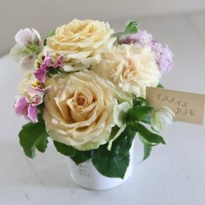 【クール便送料別】イエロー系ブリキアレンジメント「イエローハンカチーフ」|pualani-flowers