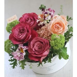 【クール便送料別】ピンク系ブリキアレンジメント「rose pink」(広口鉢)|pualani-flowers