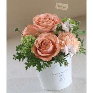 【来店受取限定】オレンジ系ブリキアレンジメント「coral orange」|pualani-flowers