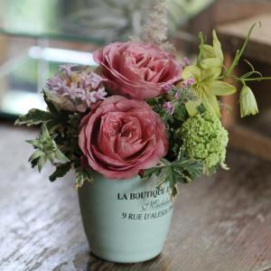 【クール便送料別】ピンク系ブリキアレンジメント「peppermint pot」|pualani-flowers
