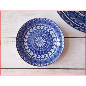 ブルーアラベスク13cm醤油皿 小皿/北欧風 おしゃれ カフェ食器  銘々皿 日本製 美濃焼 インスタ映え キャッシュレス5%還元 puchiecho
