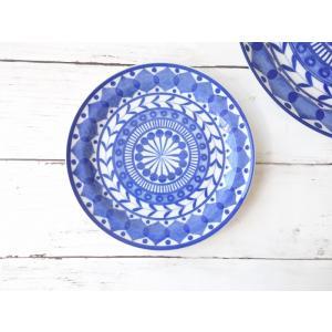 ブルーアラベスク16cmフランスパン皿/北欧風 おしゃれ カフェ食器 小皿 取り皿 菓子皿 インスタ映え キャッシュレス5%還元 puchiecho