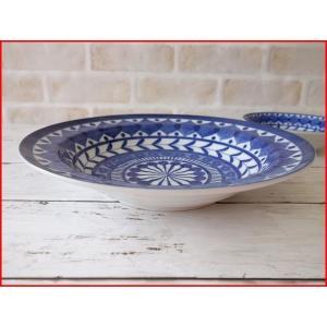 ブルーアラベスク24cmあさりのパスタ皿  カレー皿 カレーパスタ皿 食器 おしゃれ 美濃焼 日本製 業務用 北欧風|puchiecho
