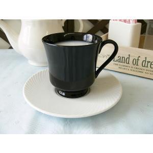 白ココア用ブラックカップ&ホワイトソーサー ティーカップ 業務用 おしゃれ 陶器 白磁|puchiecho
