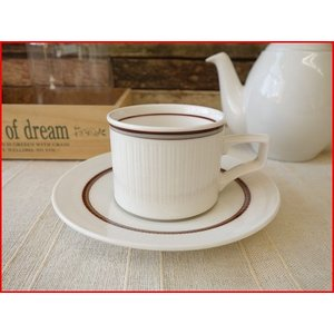 ビンテージ食器コスモシリーズブラウンボーダーフルーテッドカップ&ソーサー/昭和レトロ雑貨 北欧風 コーヒーカップ 業務用 おしゃれ 陶器|puchiecho