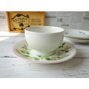 口径8cmヨーグルトボウルとペパーミントのお花のソーサー(スープカップ シリアルボウル 小鉢 国産 おしゃれ 美濃焼 かわいい 陶器) puchiecho