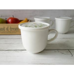カモミールのお花の蓋付きマグカップ(美濃焼/食器/通販/器/マグカップ/カフェ風/cafe風)|puchiecho