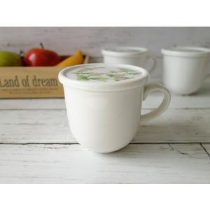 ペパーミントのお花の蓋付きマグカップ(美濃焼/食器/通販/器/マグカップ/カフェ風/cafe風)|puchiecho