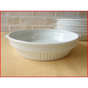 スタッキング20cmほうれん草グラタン皿/パイ皿 大 大皿 おしゃれ 丸 白 ココット スフレ ラメキン 美濃焼 日本製 食器収納