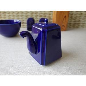 瑠璃色の醤油差し(大)(陶器 醤油さし しょうゆ差し しょうゆさし 調味料入れ 日本製 美濃焼 卓上)|puchiecho