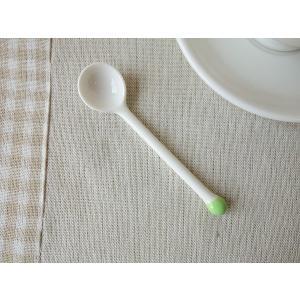 線香花火みたいなかわいいコーヒースプーン(グリーン) 白い食器 おしゃれ カフェ食器 カトラリー 金属アレルギー防止 インスタ映え|puchiecho