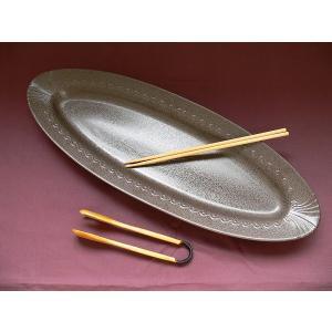 ホテルビュッフェ用60cmロングオーバルプレート(茶天目)/大皿 プラター オードブル皿 魚皿 業務用食器 激安\ |puchiecho