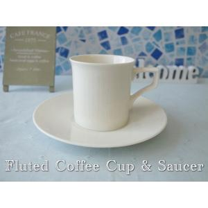 フルーテッドコーヒーカップ&ソーサー/カップソーサーセット 北欧風 ティーカップ 業務用 おしゃれ 陶器 白い食器|puchiecho